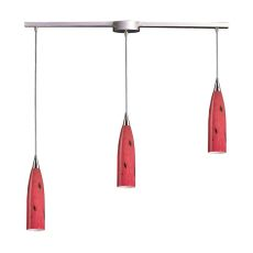 Lungo 3 Light Pendant In Satin Nickel And Fire Red Glass
