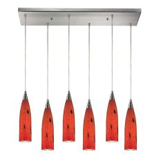 Lungo 6 Light Pendant In Satin Nickel And Fire Red Glass