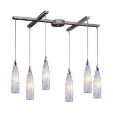 Lungo 6 Light Pendant In Satin Nickel And Snow White Glass