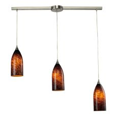 Verona 3 Light Pendant In Satin Nickel And Espresso Glass