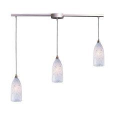 Verona 3 Light Pendant In Satin Nickel And Snow White Glass