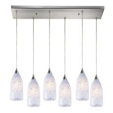 Verona 6 Light Pendant In Satin Nickel And Snow White Glass