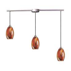 Mulinello 3 Light Pendant In Satin Nickel And Multicolor Glass