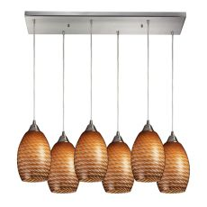 Mulinello 6 Light Pendant In Satin Nickel And Cocoa Glass