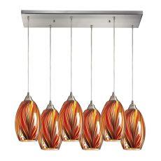 Mulinello 6 Light Pendant In Satin Nickel And Multicolor Glass