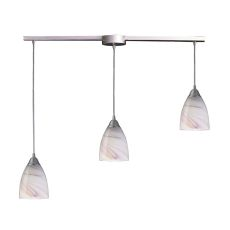Pierra 3 Light Pendant In Satin Nickel And Creme Glass