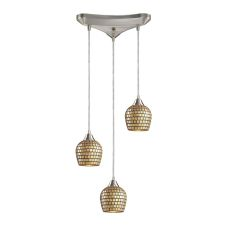 Fusion 3 Light Pendant In Satin Nickel And Gold Leaf Glass
