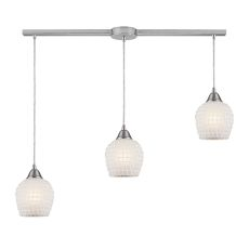 Fusion 3 Light Pendant In Satin Nickel And White Glass