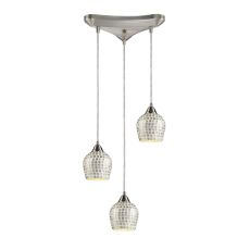 Fusion 3 Light Pendant In Satin Nickel And Silver Glass