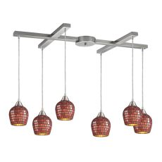 Fusion 6 Light Pendant In Satin Nickel And Copper Glass