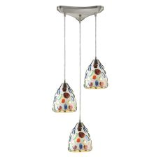 Gemstones 3 Light Pendant In Satin Nickel And Sculpted Multicolor Glass