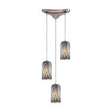 Molten 3 Light Pendant In Satin Nickel And Molten Ocean Glass