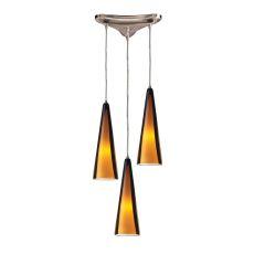 Desert Winds 3 Light Pendant In Chrome And Sahara Glass