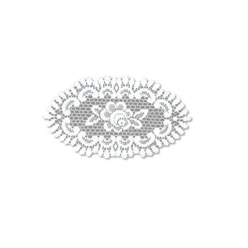 Rose 8X14 Oval Doily, Off/White