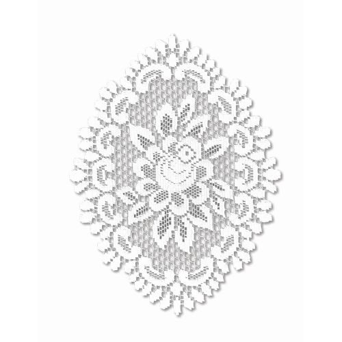 Rose 12X16 Oval Doily, Off/White