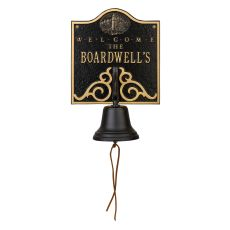 Personalized Lighthouse Bell Welcome Plaque, Black / Gold