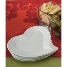 White Ceramic Heart Plates Set of 4