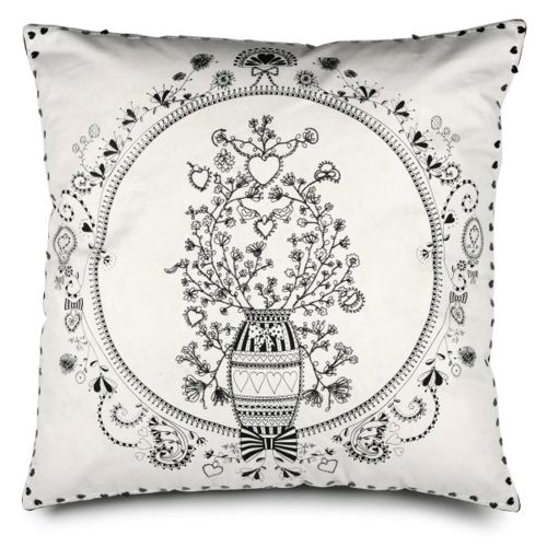 Pillow Cover W/ Pot Of Flowers