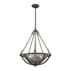 Natural Rope 3 Light Pendant In Silvered Graphite With Polished Nickel Accents
