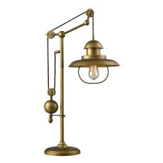 Farmhouse 1 Light Adjustable Table Lamp In Antique Brass
