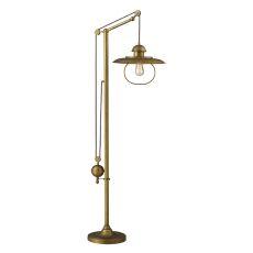 Farmhouse 1 Light Adjustable Floor Lamp In Antique Brass