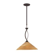 Elysburg 1 Light Pendant In Aged Bronze And Tea Stained Glass