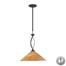 Elysburg 1 Light Pendant In Aged Bronze And Tea Stained Glass - Includes Recessed Lighting Kit