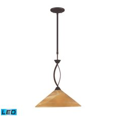 Elysburg 1 Light Led Pendant In Aged Bronze And Tea Stained Glass