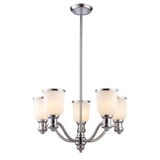 Brooksdale 5 Light Chandelier In Polished Chrome And White Glass