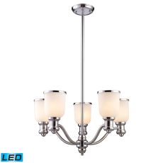 Brooksdale 5 Light Led Chandelier In Polished Chrome And White Glass
