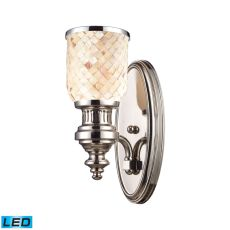 Chadwick 1 Light Led Wall Sconce In Polished Nickel And Cappa Shells
