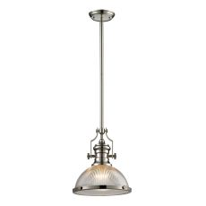 Chadwick 1 Light Pendant In Polished Nickel And Halophane Glass