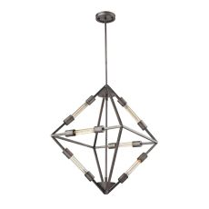 Laboratory 6 Light Chandelier In Weathered Zinc - Bulbs Included