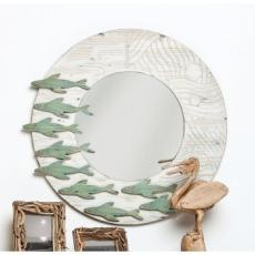 School of Fish Wooden Framed Round Mirror