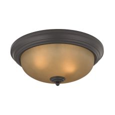 3 Light Flush Mount In Oil Rubbed Bronze