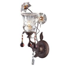 Cristallo Fiore 1 Light Wall Sconce In Deep Rust With Crystal Florets