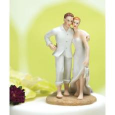 Tropical Paradise Wedding Couple Cake Topper