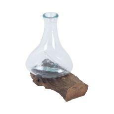 Jetsam Teak Root And Glass Vessel - Tall