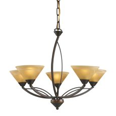 Elysburg 5 Light Chandelier In Aged Bronze And Tea Stained Glass
