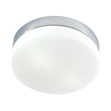 1 Light Flush Mount In Chrome And White Glass