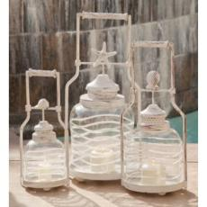 Shell Frosted Globe Lanterns (set of 3)