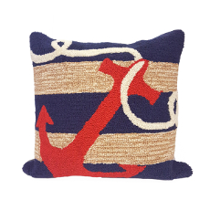 "Liora Manne Frontporch Anchor Indoor/Outdoor Pillow - Navy, 18"" Square"