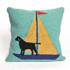 "Liora Manne Frontporch Sailing Dog Indoor/Outdoor Pillow, 18"" Square"