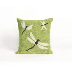 "Liora Manne Frontporch Dragonfly Indoor/Outdoor Pillow - Green, 18"" Square"