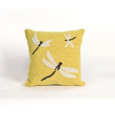 "Liora Manne Frontporch Dragonfly Indoor/Outdoor Pillow - Yellow, 18"" Square"