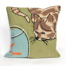 """Liora Manne Frontporch Curious Cat Indoor/Outdoor Pillow - Green, 18"""" Square"""