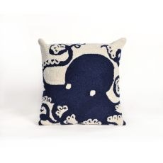 "Liora Manne Frontporch Octopus Indoor/Outdoor Pillow - Navy, 18"" Square"