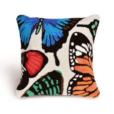 """Liora Manne Frontporch Butterfly Dance Indoor/Outdoor Pillow - Ivory, 18"""" Square"""