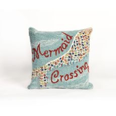 "Liora Manne Frontporch Mermaid Crossing Indoor/Outdoor Pillow - Blue, 18"" Square"