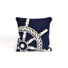 "Liora Manne Frontporch Ship Wheel Indoor/Outdoor Pillow - Navy, 18"" Square"